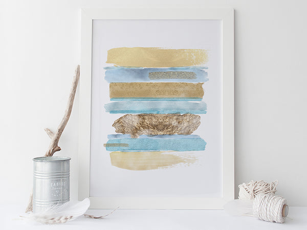 Blue and Gold Abstract Art Print by Pink Milkshake Designs