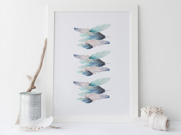 Feathers Abstract Art Print by Pink Milkshake Designs