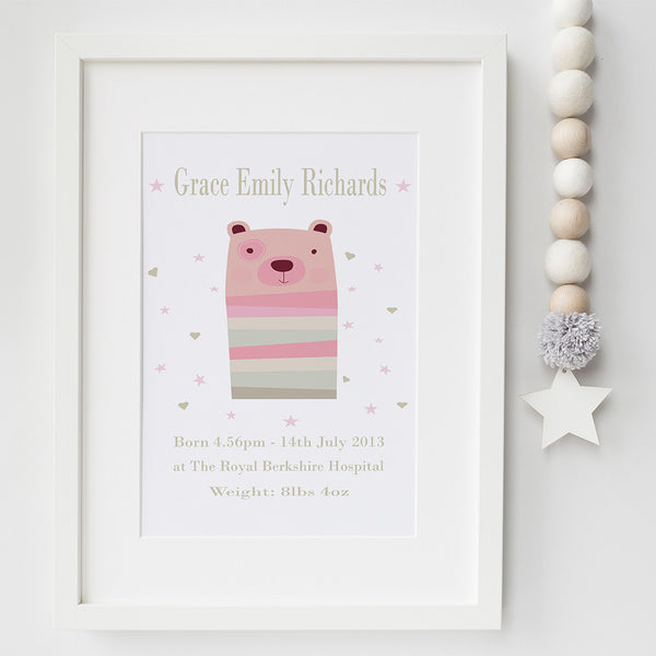 bear birth announcement print by Pink Milkshake Designs