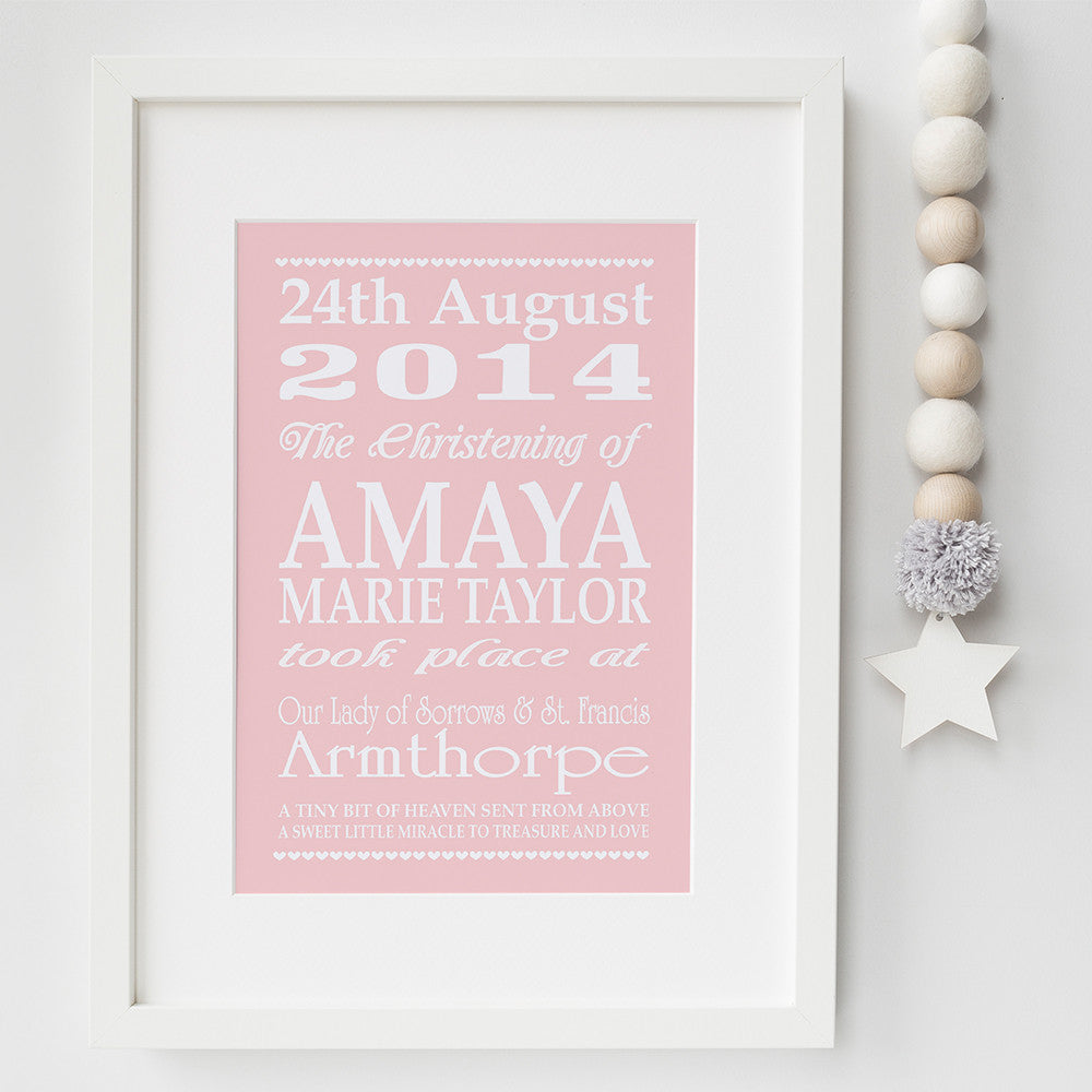Personalised christening typography print by Pink Milkshake Designs