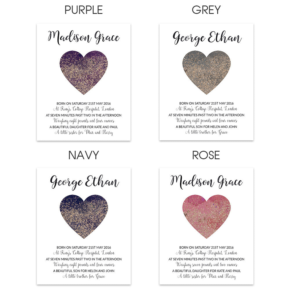 Confetti Heart Birth Announcement Print