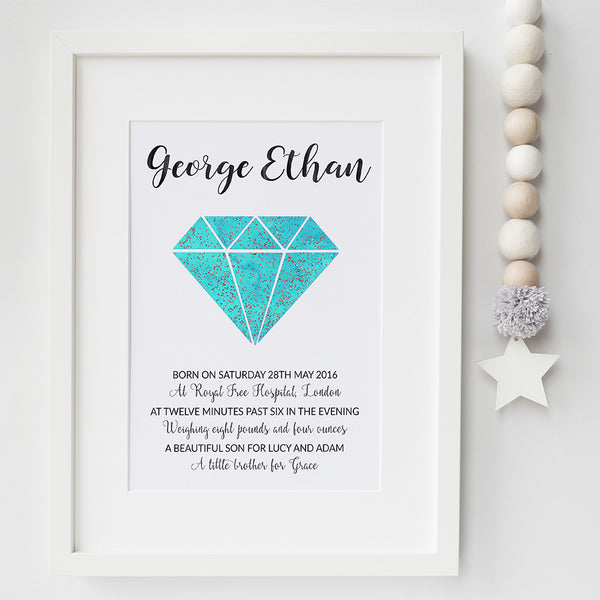 Gemstone birth announcement print by Pink Milkshake Designs