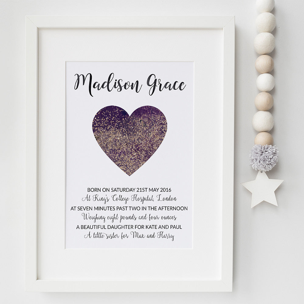 Confetti Heart birth announcement print by Pink Milkshake Designs