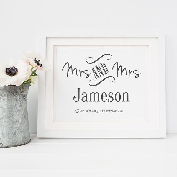 Black and White Mrs and Mrs Personalised Print