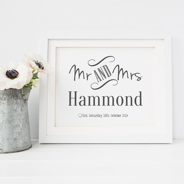 personalised mr and mrs print by Pink Milkshake Designs