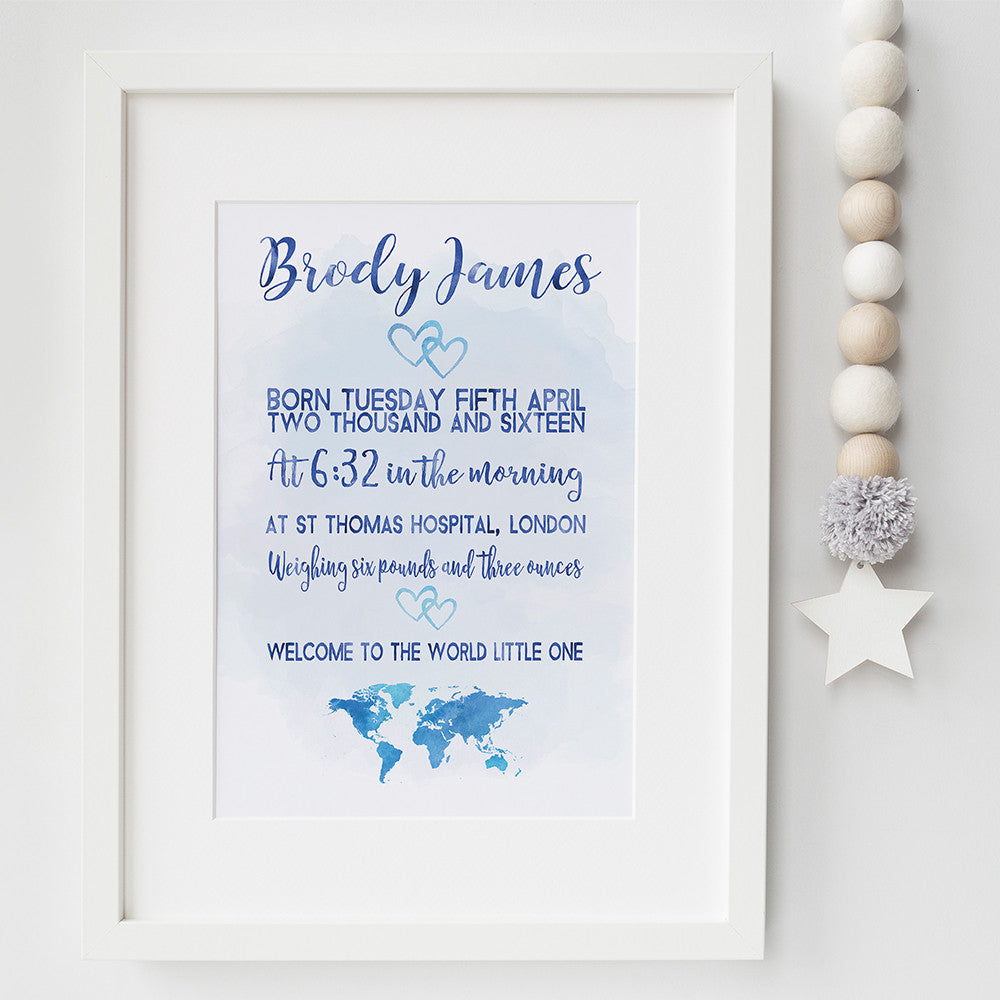Welcome to the world birth announcement print