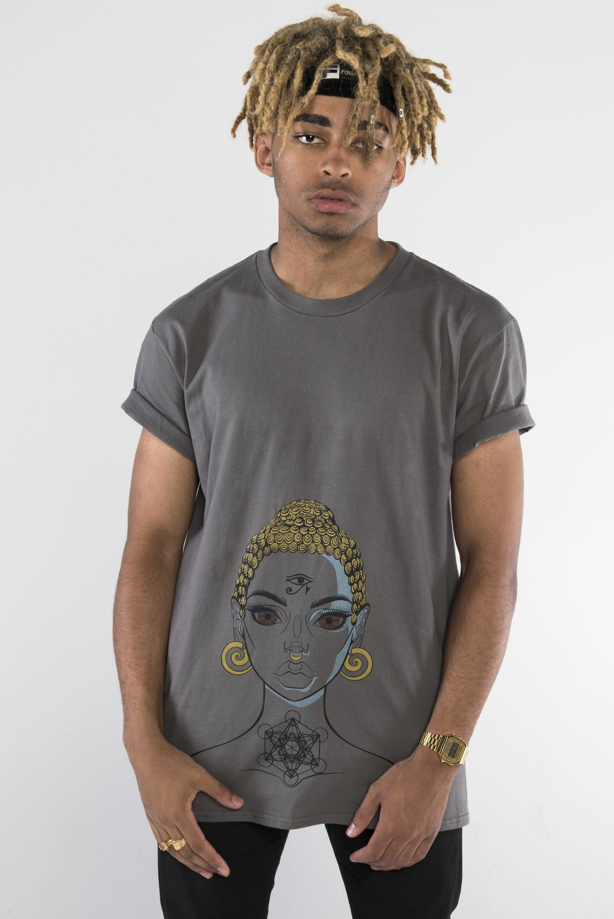 Buddha Girl T-Shirt - Steel Grey