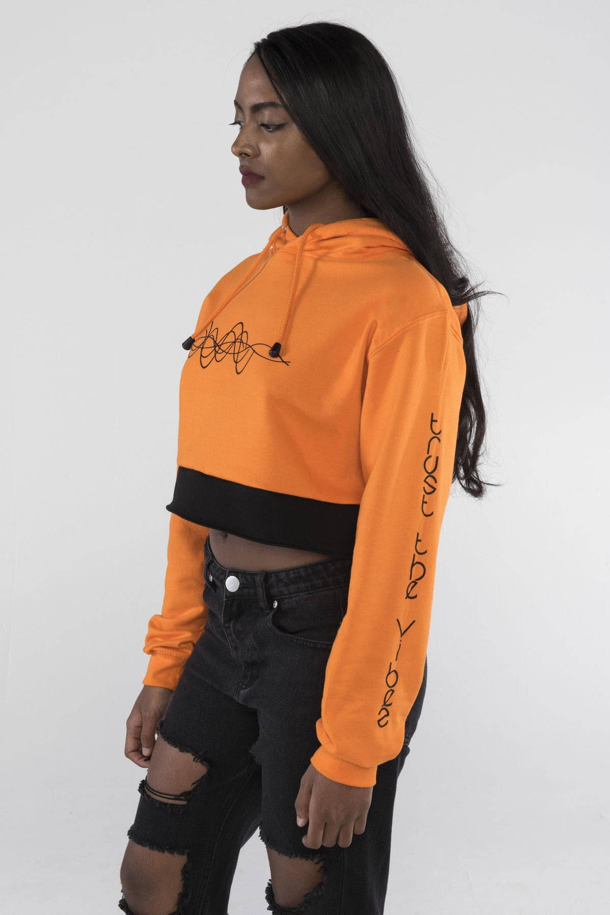 Trust the Vibes Crop Hoodie - Orange Crush