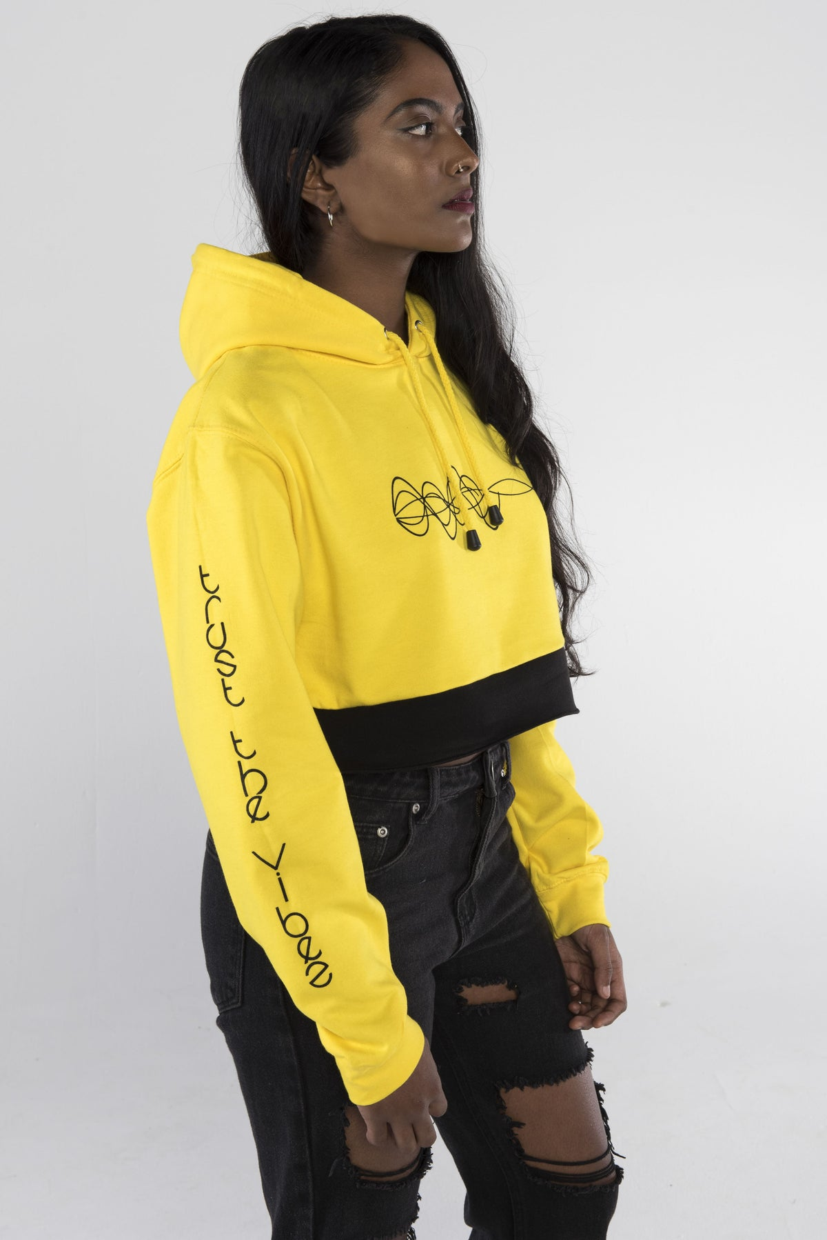Trust the Vibes Crop Hoodie - Yellow