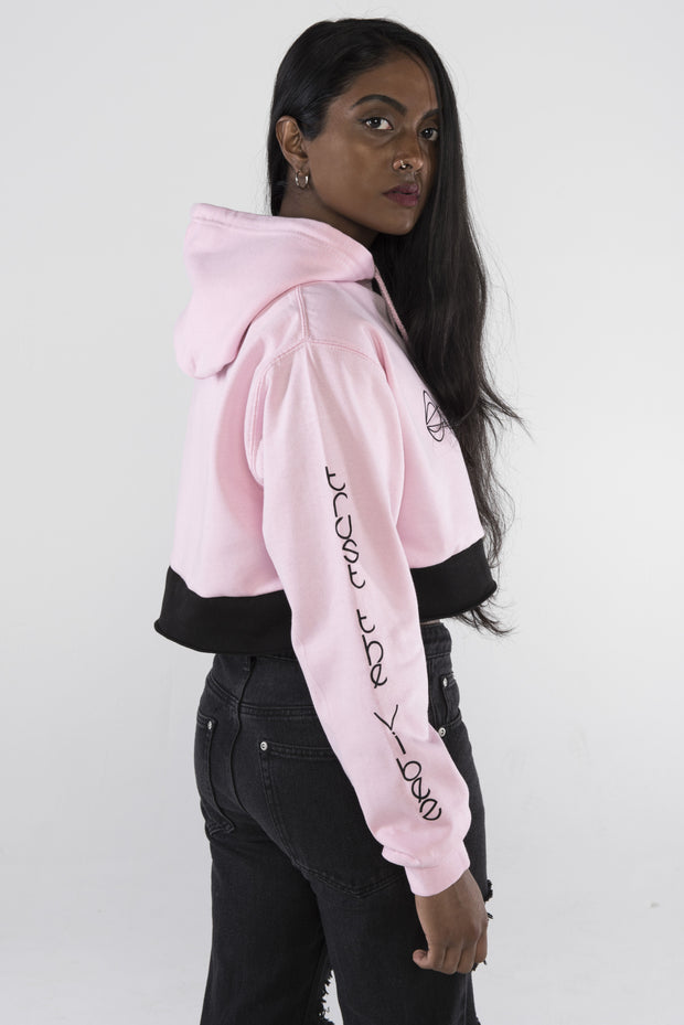 Trust the Vibes Crop Hoodie - Light Pink