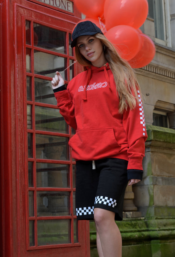 Checkerboard Hoodie - Red