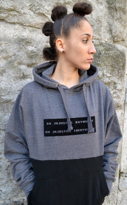 Injustice Hoodie- Grey and Black