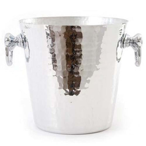 Hammered Aluminum Champagne Bucket With Stainless Steel Rings
