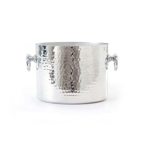 Hammered Aluminum Oval Champagne Bucket With Stainless Steel Rings
