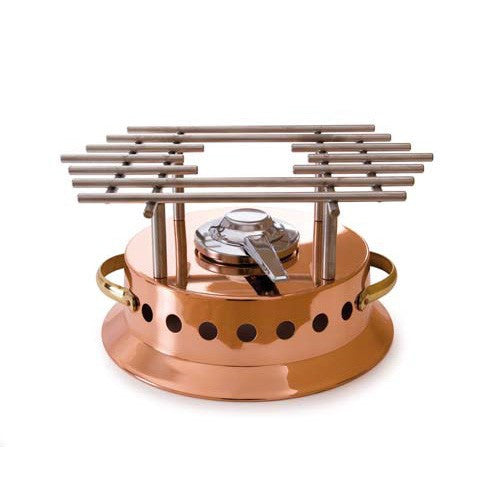 Copper Round Heater With Brass Handles And Stainless Steel Grid Alcohol Burner