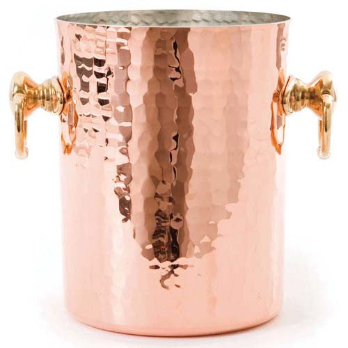 Hammered Copper Wine Bucket With Brass Handles