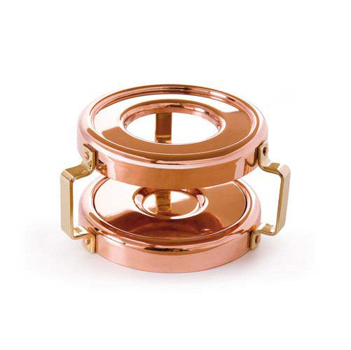 Copper Round Heater With Brass Handles And Candle Holder