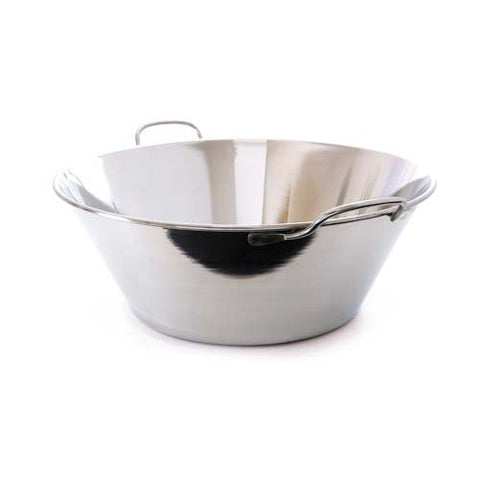 Stainless Steel Splayed Bowl With Stainless Steel Handles