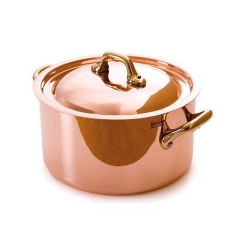 Copper Stew Pan With Lid & Bronze Handles