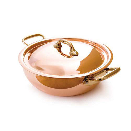 Copper Vegetable Pan With Lid And Bronze Handles