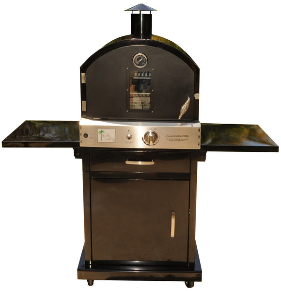 Pacific Living - Black Powder Coated Outdoor Oven With Cart - EcoBrandsNow