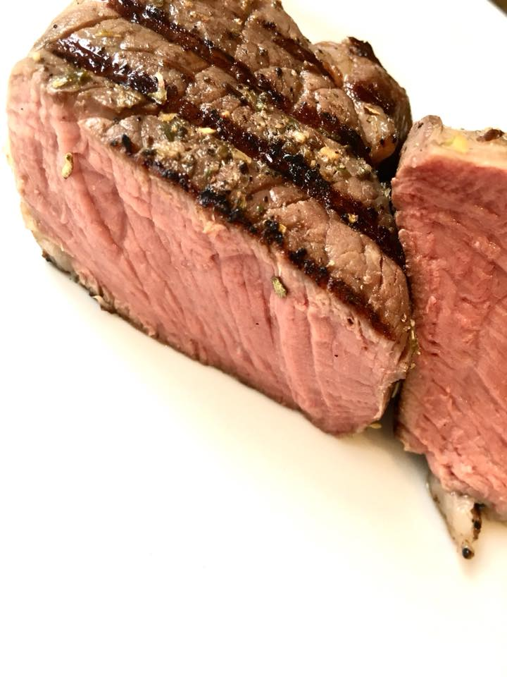 rub that rubs gourmet spices - sous vide rib eye steak.  58 day dry aged beef