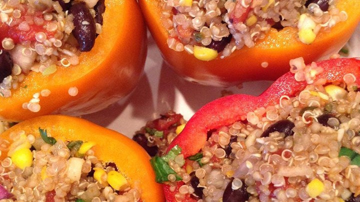 Rub that rubs gourmet spices - vegan stuffed bell peppers with quinoa