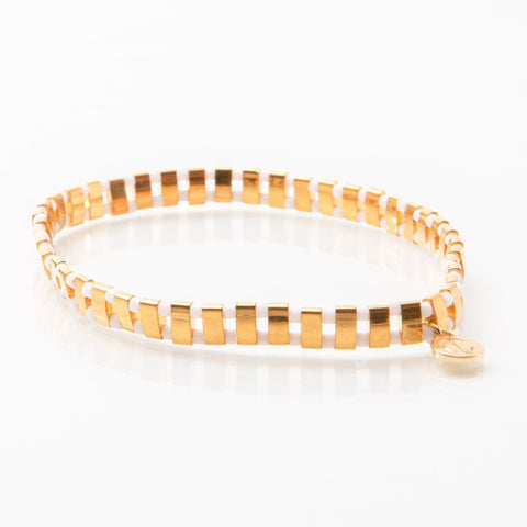 Supernova - Speckled Gold & White Bracelet