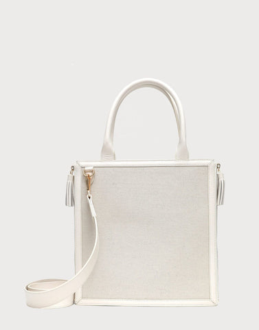Monday Tote White Goat Embossed Trim