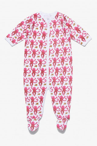 Infant Snapsuit Pink Monkey Footie Pajamas