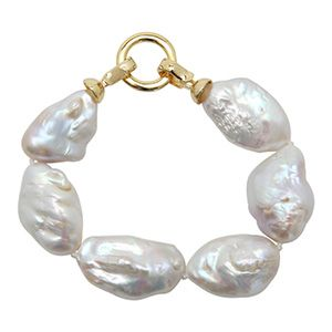 Freshwater Stone Pearl Bracelet-Gold Clasp