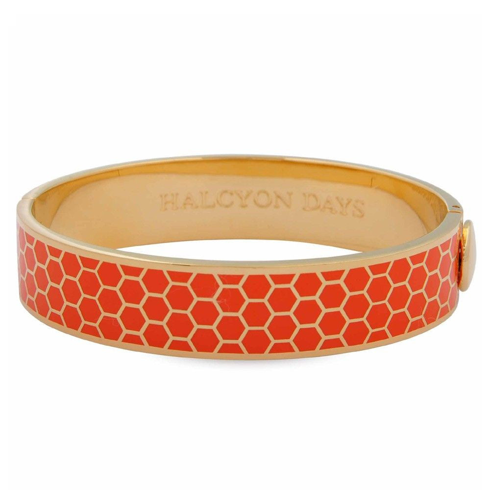 13mm Orange Honeycomb Bangle