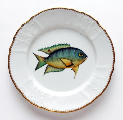 Fish Dinner Plate, Aqua With Yellow