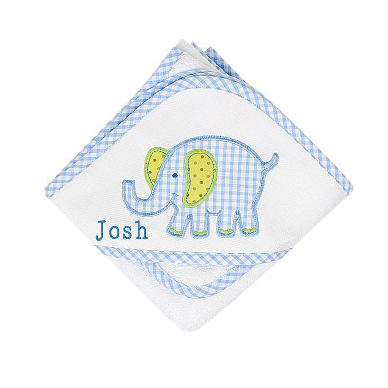 Blue Elephant Hooded Towel and Washcloth set