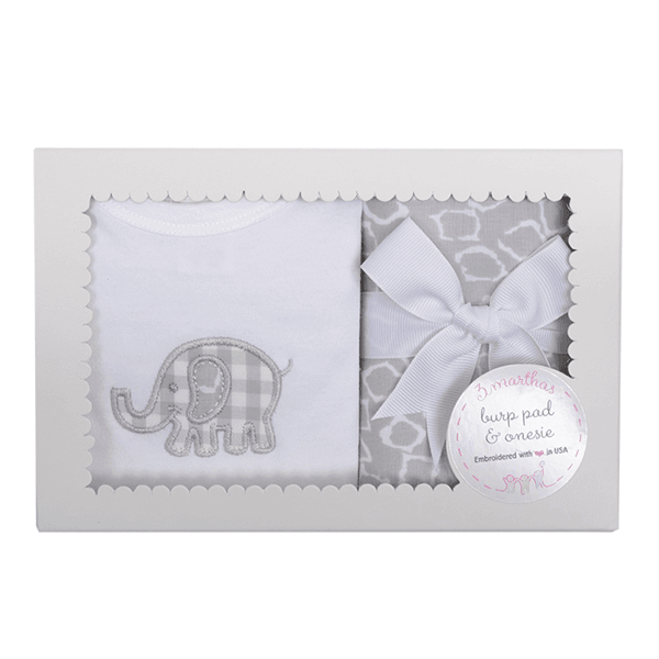 Gray Elephant Onesie & Burp Set