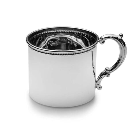 Beaded Border Sterling Silver Baby Cup