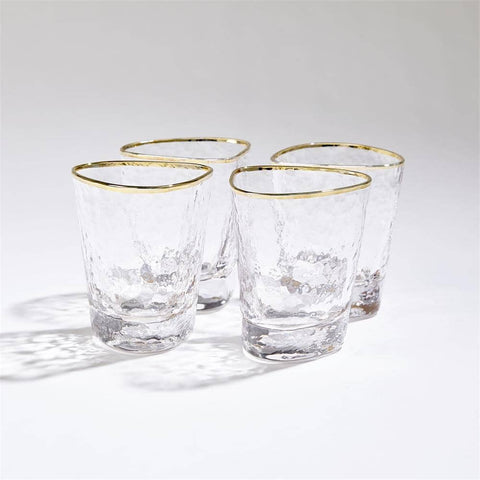 Set of 4 Hammered DOF With Gold Rim