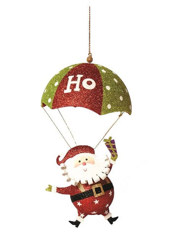 "11"" Hanging Tin Santa with Parachute"