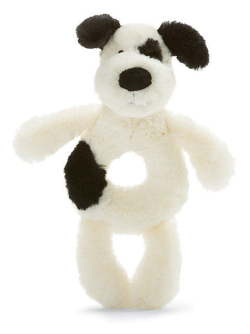 Black & Cream Puppy Ring Rattle
