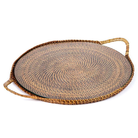 Round Serving Tray with Glass