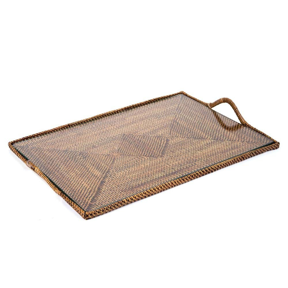 Medium Rectangular Serving Tray With Glass