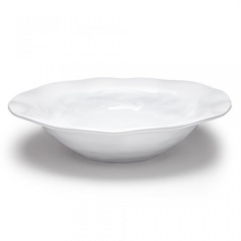 White Ruffle Round Shallow Serving Bowl