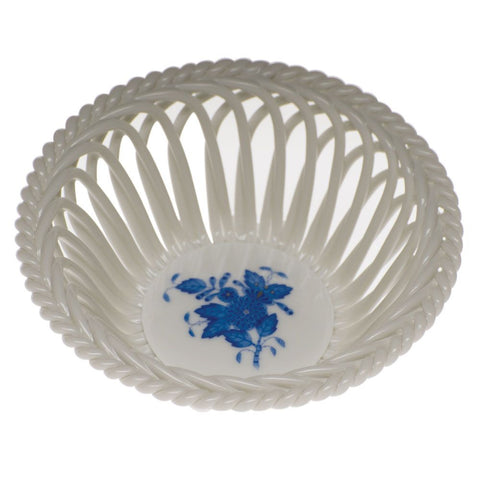 Chinese Bouquet Openwork Basket- Blue