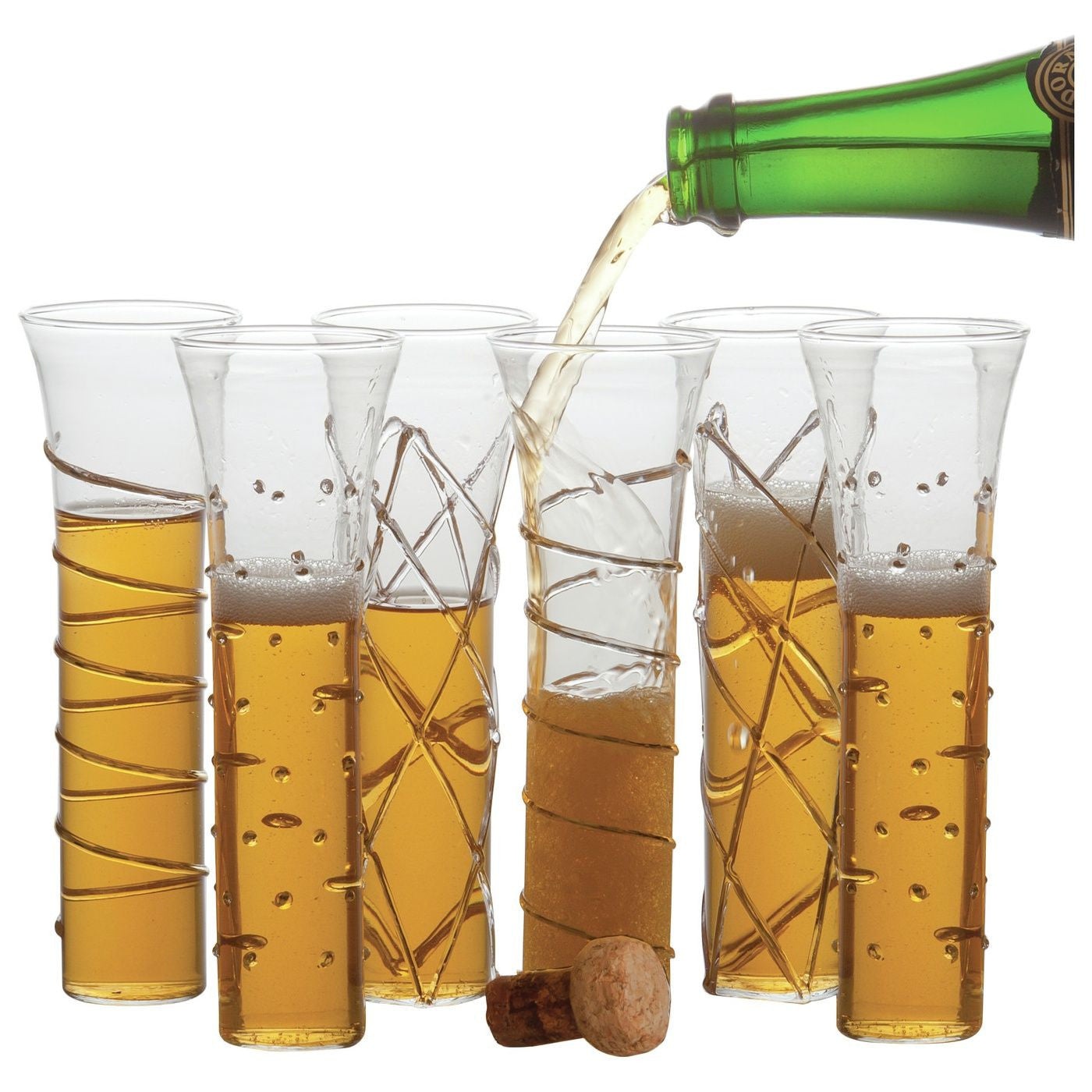 Champagne Glasses Gold Set Of 6