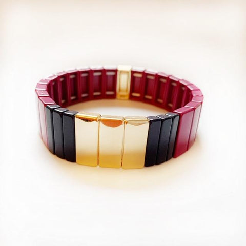Tile Bead Bracelet Large - Wine/Gold