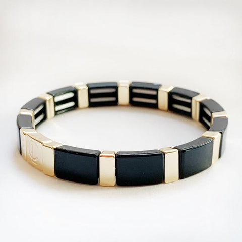 Tile Bracelet - Black/ Gold Rectangle