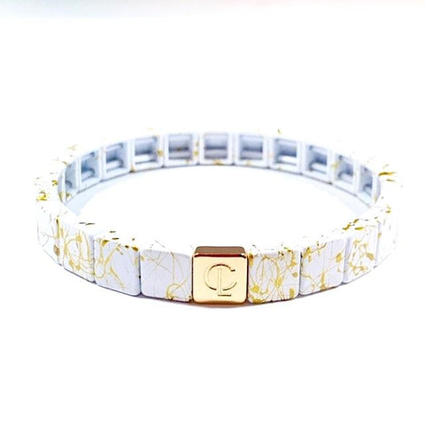 Tile Bracelet - Splatter White/Gold