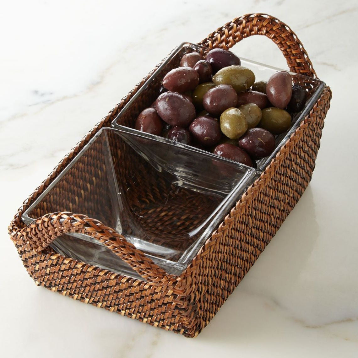 Rectangular Tray with 2 Glass Dishes