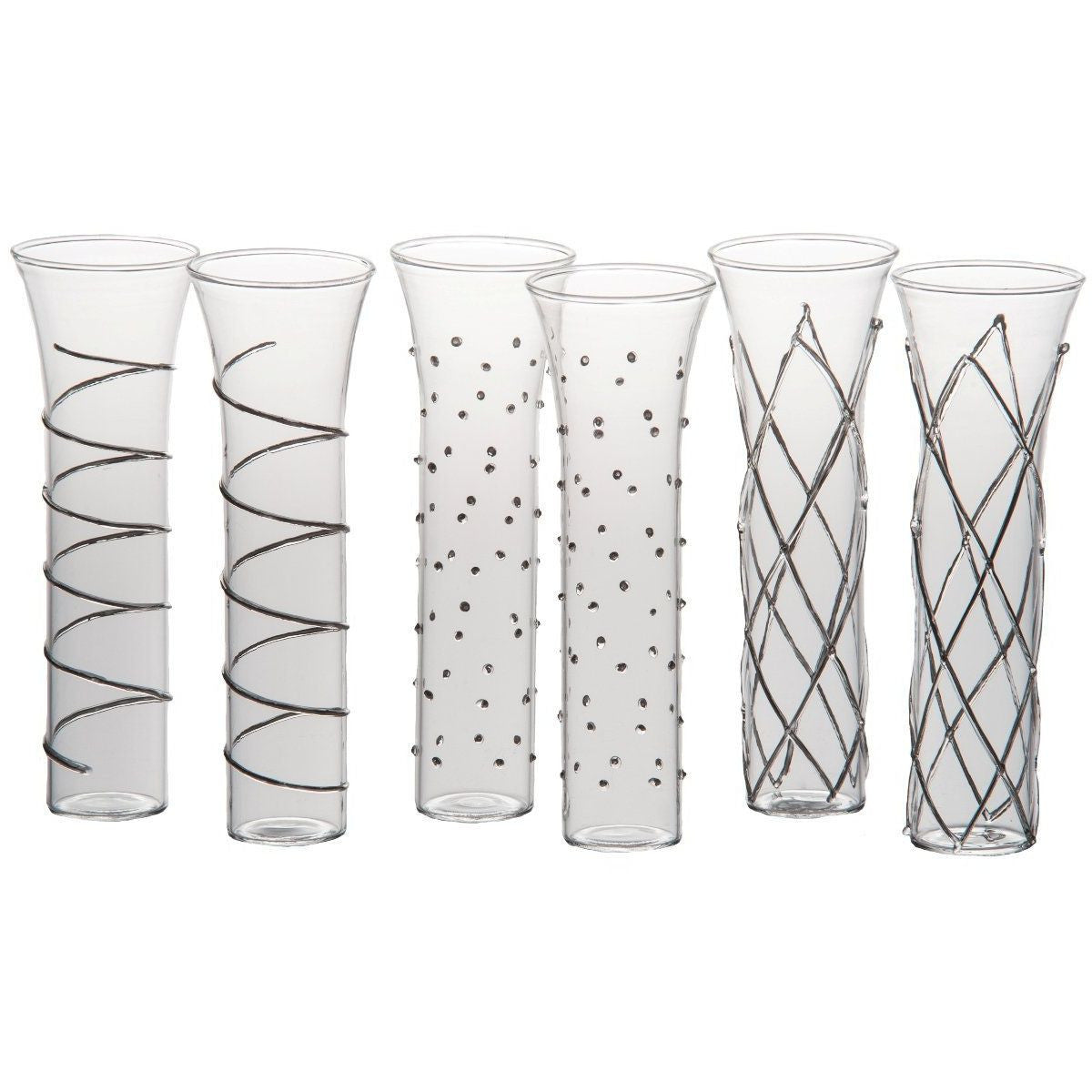 Champagne Glasses Silver Set of 6
