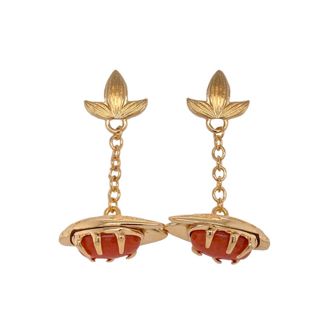 Coral Bug Fob Earrings